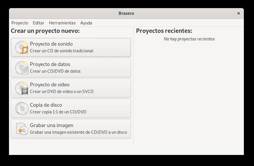 help/es/figures/brasero-main-window.png